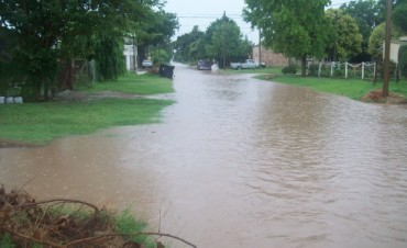 Calles inundadas en Ramallo