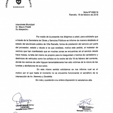 Pedido de los concejales de Cambiemos