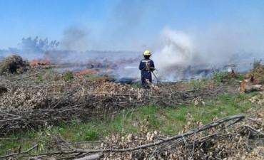 Un incendio de magnitud en un monte fue sofocado por bomberos voluntarios