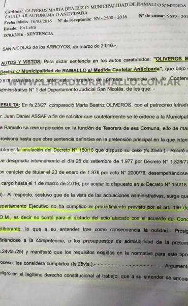 Exclusivo:La justicia ordena restituir a Oliveros