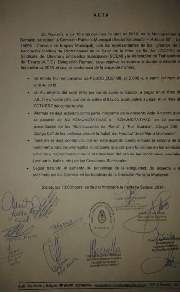 Aumento para los municipales: Dos mil pesos más desde abril y 16 % entre julio y octubre
