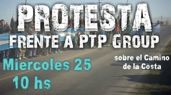 Protesta en rechazo al nuevo COUT frente a la empresa PTP Group