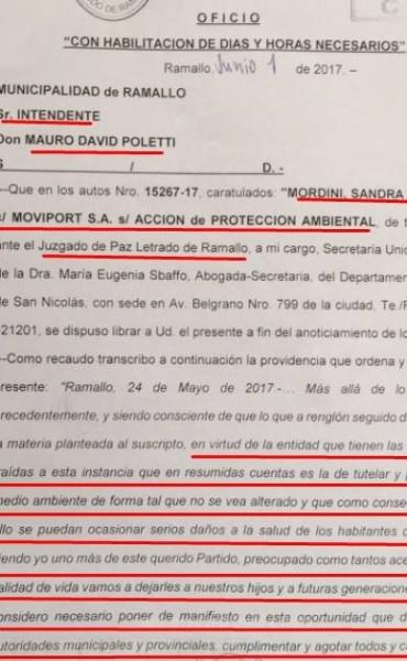 Oficio judicial del Juzgado de Paz Ramallo le dice no a Moviport