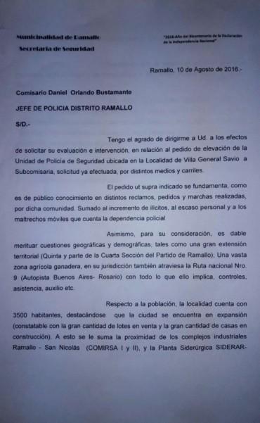 Piden que la delegación policial de Villa General Savio pase a Subcomisaría