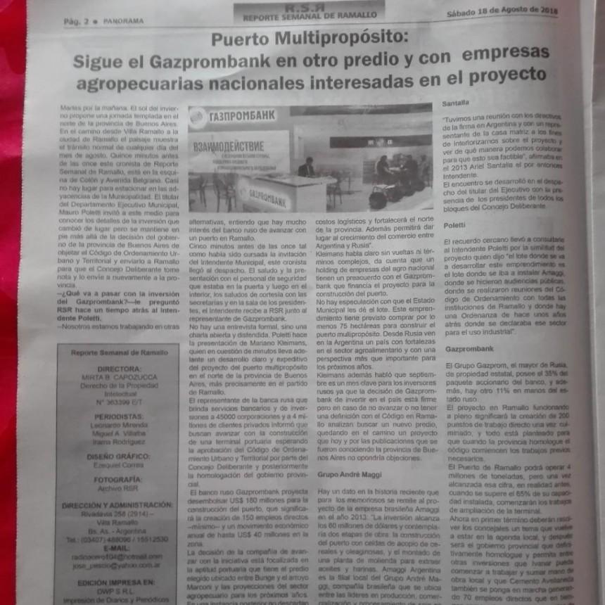 Puerto Multipropósito: Sigue el Gazprombank en otro predio y con  empresas agropecuarias nacionales interesadas en el proyecto