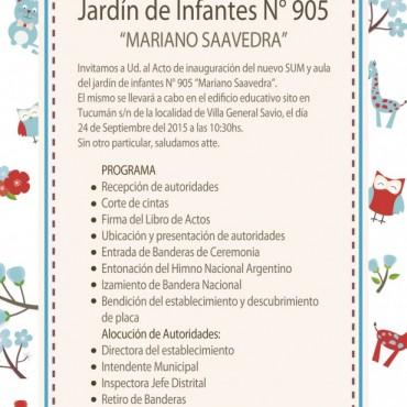 Este jueves inauguran la ampliación del Jardín 905 en Villa General Savio
