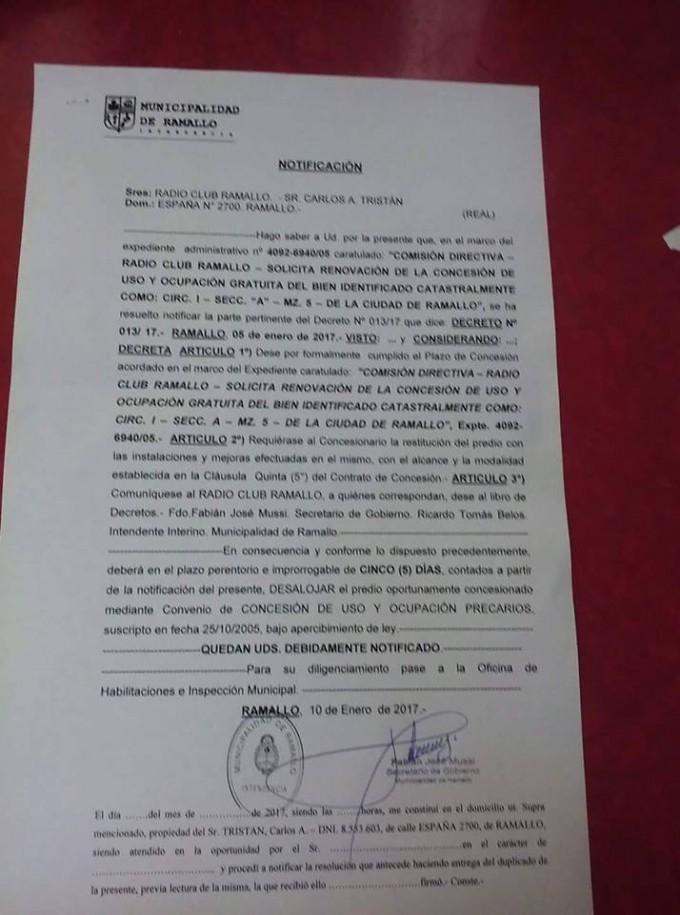 El municipio pide que el Radio Club Ramallo desaloje el lugar