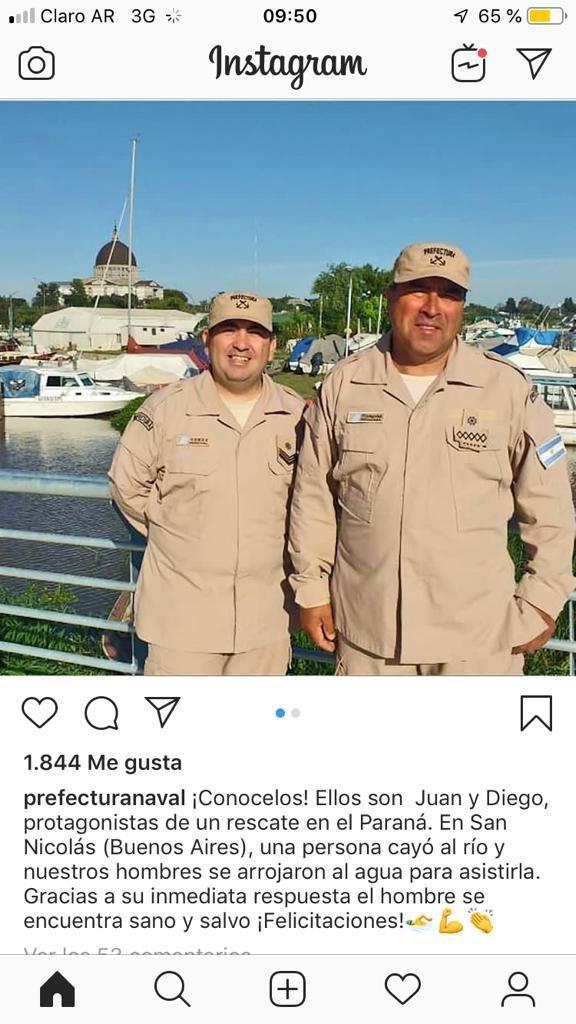 Prefectura: Ferreyra y Gómez salvaron a un hombre que se había caído al Paraná