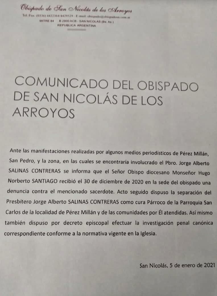 Separan al cura párroco de Pérez Millán, la justicia avanza en la investigación y el Obispado de San Nicolás emitió un comunicado