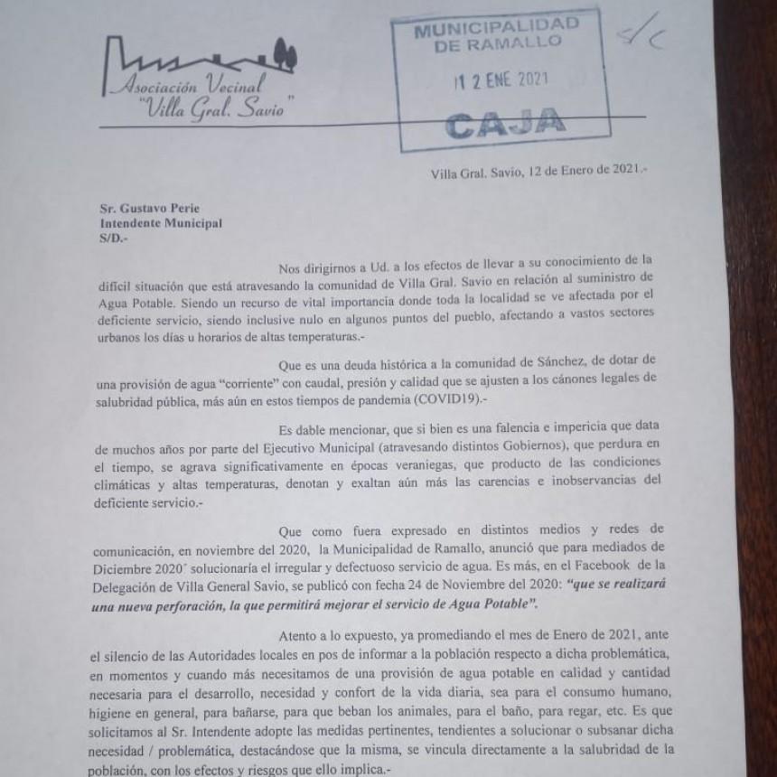 Un problema y un pedido que se reitera en Villa General Savio