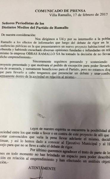 Obras Ramallo decidió no hacer el edificio en la costa de Ramallo