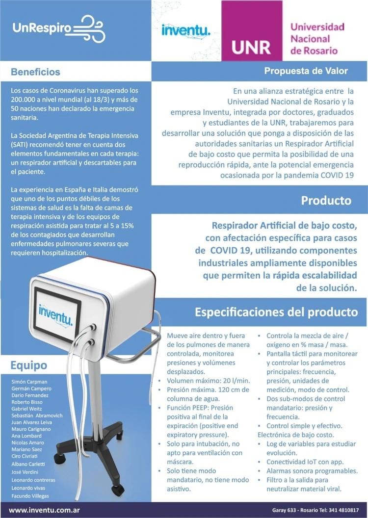 La UNR e Inventu comenzaran a fabricar respiradores