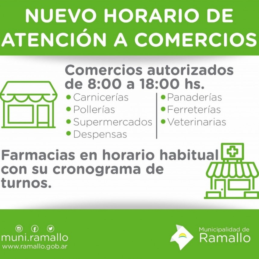 La Municipalidad de Ramallo a través del decreto nº 190/20 reducirá el horario de atención al público para prevenir la propagación del COVID-19