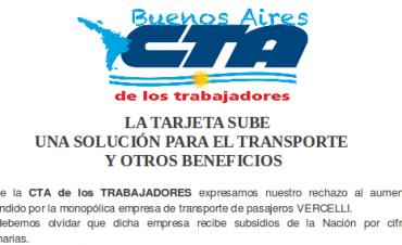 Comunicado de la CTA: Aumento de Boleto y Tarjeta SUBE