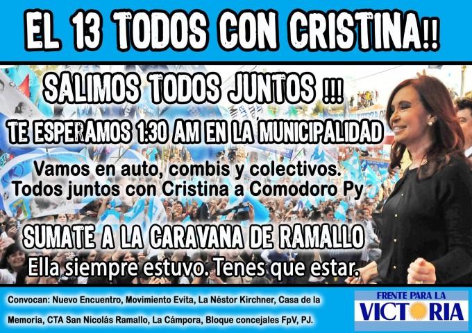 El FpV Ramallo se moviliza en defensa de CFK