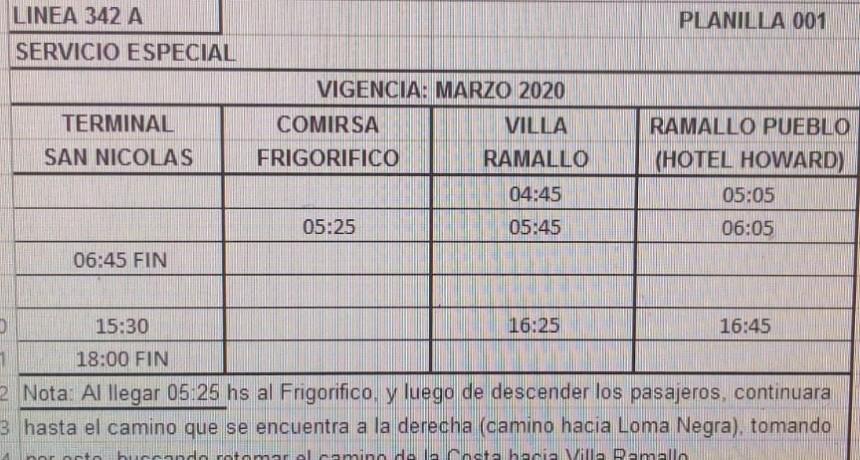 Servicio de transporte reducido entre Ramallo y San Nicolás