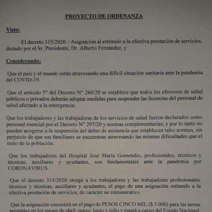 Proponen que el gobierno local adhiera a decreto 315 del gobierno nacional