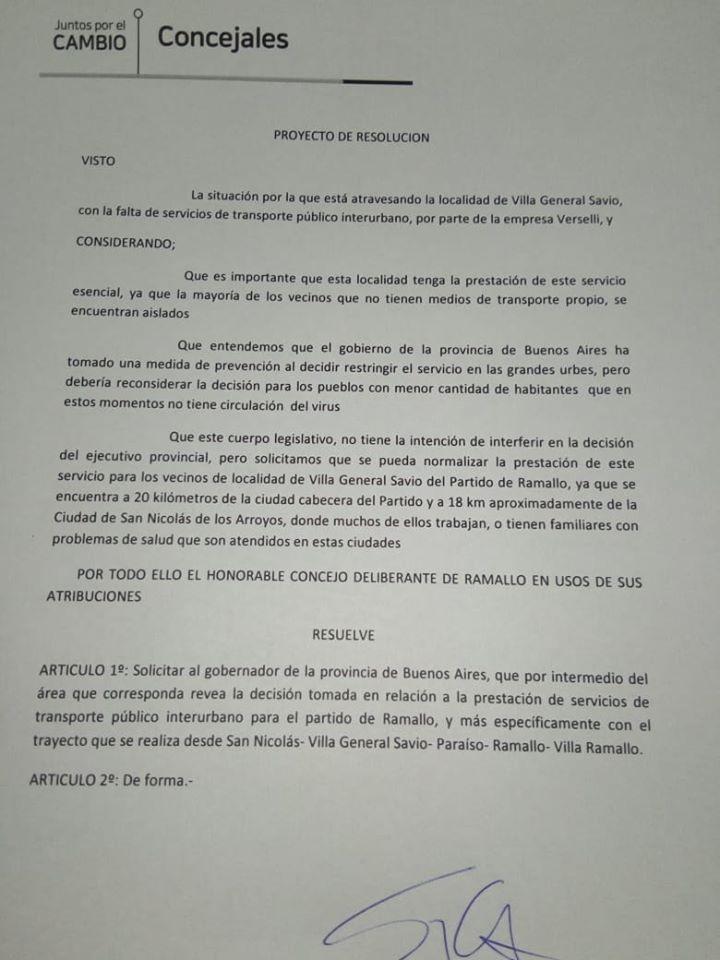 El presidente del Concejo presentó un proyecto de resolución para que el gobierno provincial modifique la situación del transporte en Sánchez