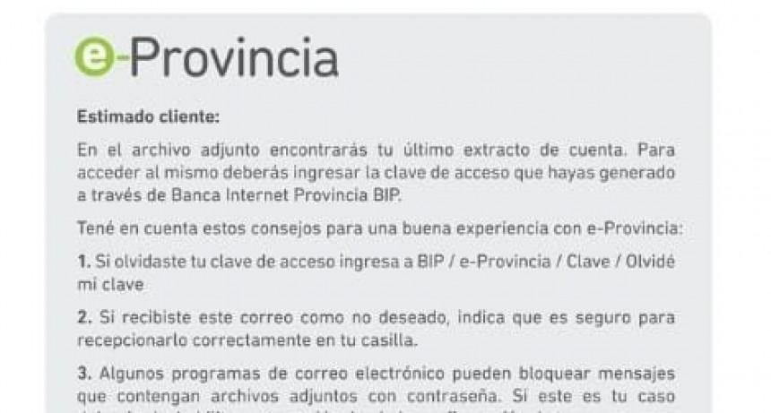 Confirmado: El mail con el PDF era del banco Provincia
