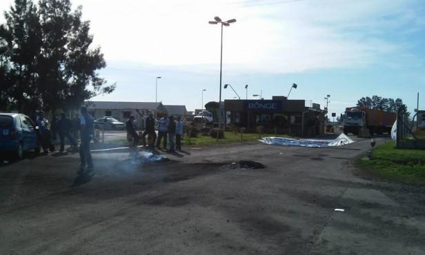 Protesta de los trabajadores de la seguridad en Bunge