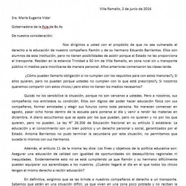 Los alumnos le enviaron una carta a la gobernadora
