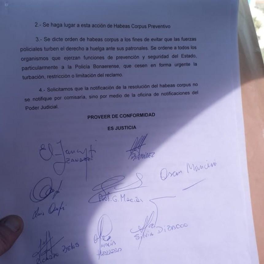 Zanazzi 'Presentamos un Hábeas Corpus para que abstengan de reprimir'