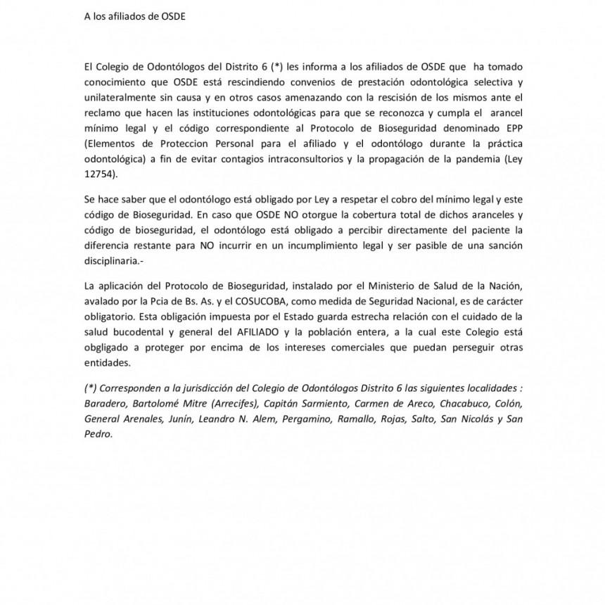 El Colegio de Odontólogos de Ramallo informa