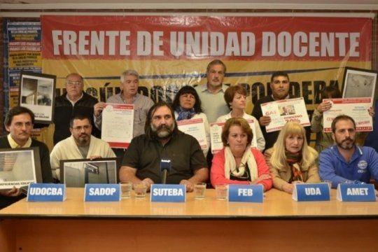 El Frente de Unidad Docente Bonaerense pidió que se convoque a la mesa Técnica Salarial
