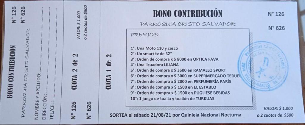 Bono contribución para la parroquia