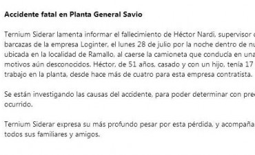 Comunicado Ternium Siderar: Accidente fatal en Planta General Savio