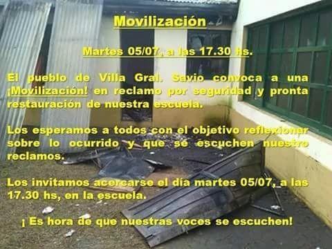 Villa General Savio se moviliza