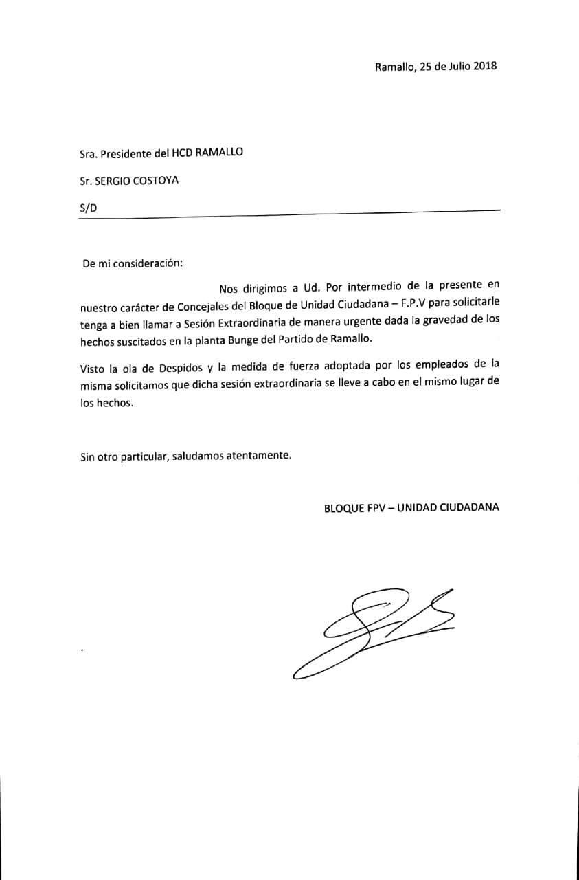 El FpV - UC piden una sesión urgente