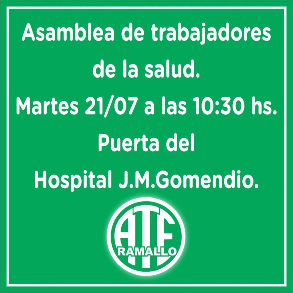ATE convoca a la asamblea de trabajadores y trabajadoras de la salud  para este martes