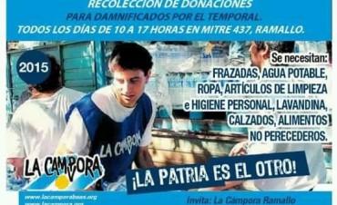 La Campora Ramallo realiza una campaña para llevar donaciones a los inundados