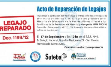 San Nicolás: El Ministro de Educación de la Nación, Alberto Sileoni, entregará el legajo reparado de la docente Irma Zucchi