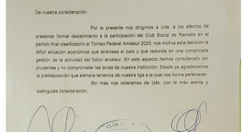Social no jugará con Regatas el partido clasificatorio para el torneo Federal Amateur