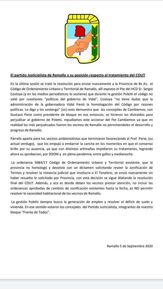 El partido Justicialista de Ramallo y su posición respecto al tratamiento del COUT