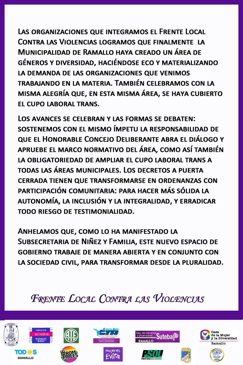 Comunicado del Frente Local contra las Violencias