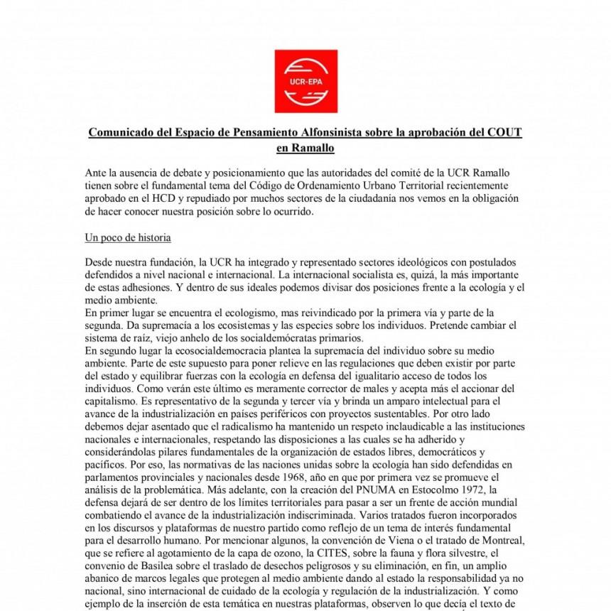 Comunicado del Espacio de Pensamiento Alfonsinista sobre la aprobación del COUT en Ramallo
