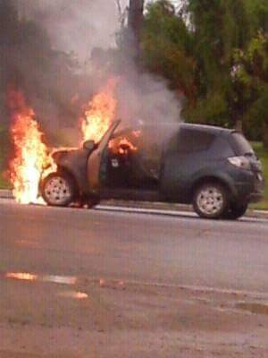 Incendio en el ingreso a la ciudad de Ramallo
