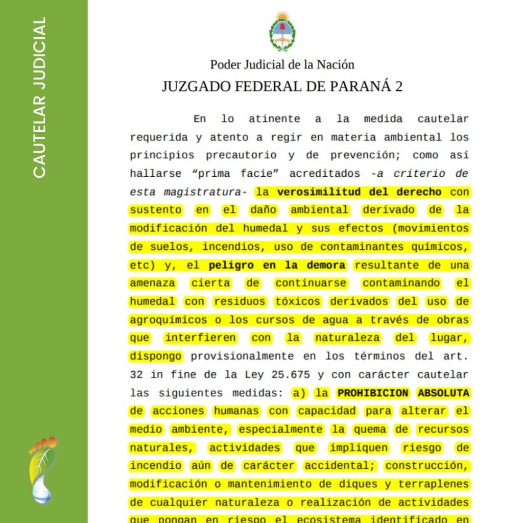 Cautelar judicial que prohíbe la agricultura con agrotóxicos en las Lechiguanas.