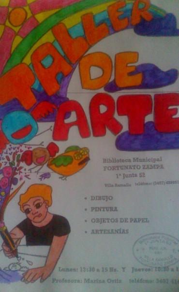 Taller de arte en la biblioteca popular Fortunato Zampa